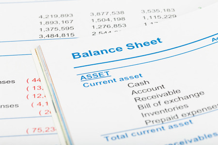 balance: Balance sheet in stockholder report book, document is mock-up