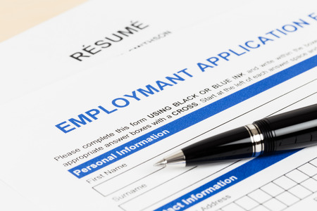Employment application form with pen document is mockup Stock Photo - 40521253