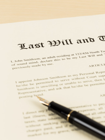 heir: Last will on cream color paper and pen document and information are mockup Stock Photo