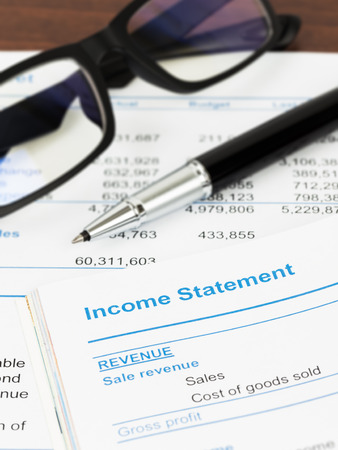 stockholder: Income statement in stockholder report book statement is mockup Stock Photo