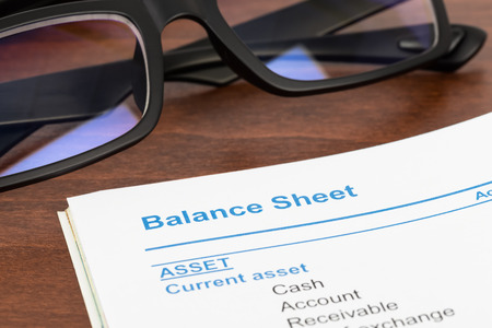 stockholder: Balance sheet in stockholder report book balance sheet is mockup