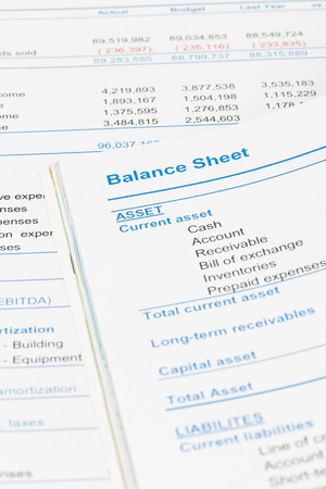stockholder: Balance sheet in stockholder report book document is mockup Stock Photo