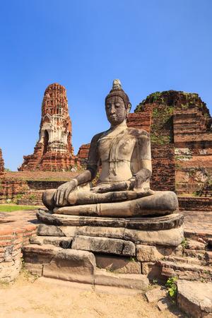Ancient statue of buddha in wat mahathat temple Ayutthaya Thailand photo