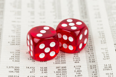 stock price: Dice rest on stock price detail financial newspaper