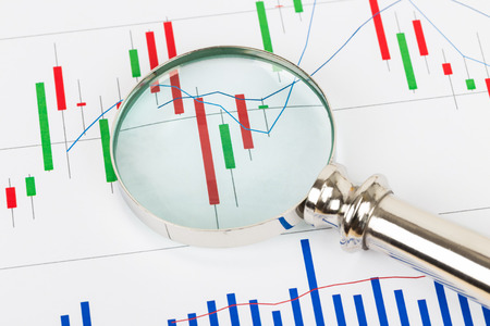 Investment report chart with magnifier