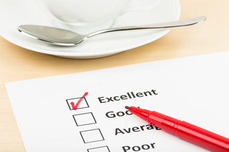 excellence: Customer satisfaction survey checkbox with excellent tick