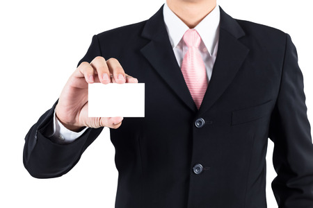 namecard: Businessman show blank namecard Stock Photo