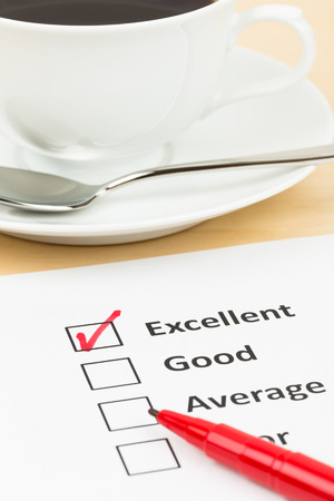 restaurant rating: Customer satisfaction survey checkbox with excellent tick