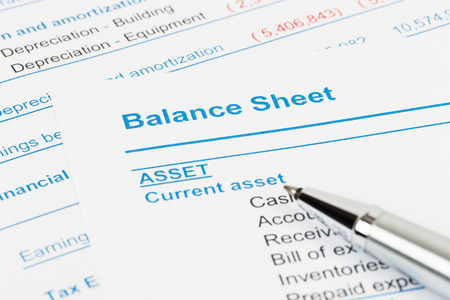 balance: Balance sheet report; balance sheet is mock-up Stock Photo