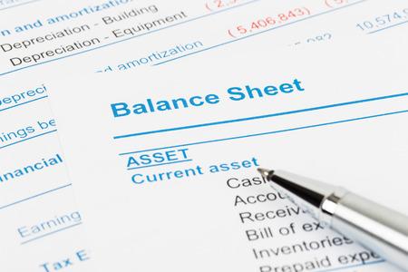Balance sheet report; balance sheet is mock-up Stock Photo - 43114064