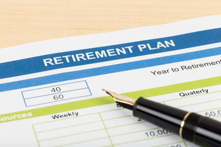 Retirement plan with pen; document is mock-up Stock Photo - 43114221