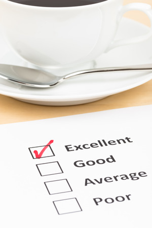 checkbox: Customer satisfaction survey checkbox with excellent tick