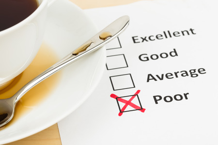 restaurant rating: Customer satisfaction survey checkbox with poor tick Stock Photo
