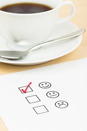 uitstekend: Customer satisfaction survey checkbox with excellent icon tick Stockfoto