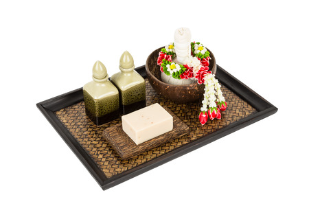 thai spa: Thai spa set with herbal compress ball and hand made soap
