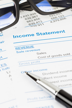 stockholder: Income statement in stockholder report; document are mock-up