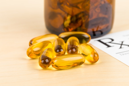 rx: Fish oil capsule food supplement with rx note