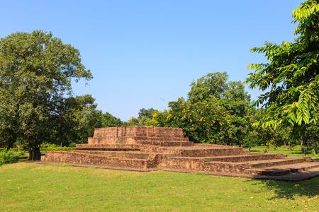 uttar pradesh: Sariputta Stupa Kuti or hut in Jetavana monastery, Shravasti, Uttar Pradesh, India Stock Photo