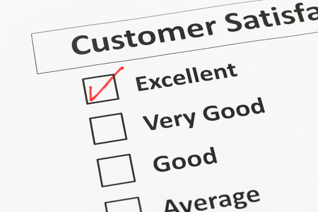 the tick: Customer satisfaction survey checkbox with excellent tick