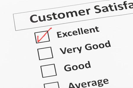 Umfrage zur Kundenzufriedenheit Kontrollkästchen mit ausgezeichneten tick Standard-Bild - 43121992