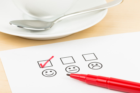 restaurant rating: Customer satisfaction survey checkbox with excellent icon tick Stock Photo