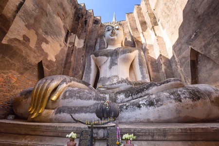 chum: Big Buddha at Wat Si Chum , Shukhothai Historical Park, Thailand Stock Photo