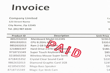paid stamp: Invoice with paid stamp; invoice is mock-up
