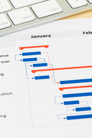 gantt: Project management and gantt chart with keyboard Stock Photo
