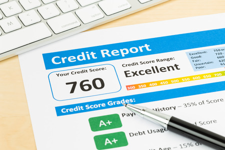 financial report: Credit score report with keyboard Stock Photo