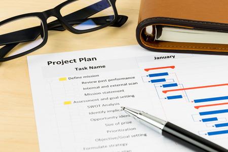 Projectmanagement en Gantt-grafiek met een bril en pen Stockfoto