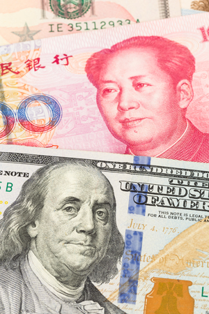 yuan: US Dollar and Chinese Yuan banknote money