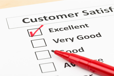 quality check: Customer satisfaction survey checkbox with excellent tick