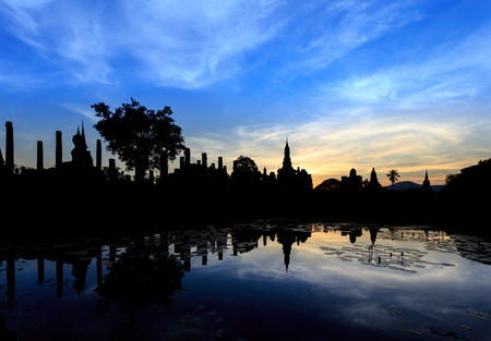 sun set: Wat Maha That at sun set, Shukhothai Historical Park, Thailand Stock Photo
