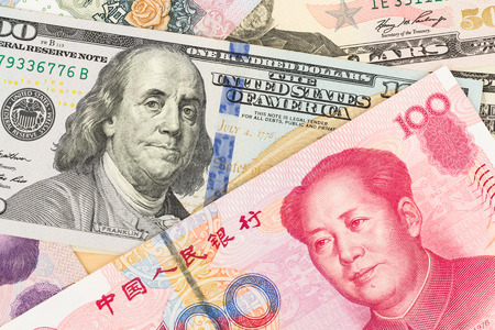 the franklin: US Dollar and Chinese Yuan banknote money