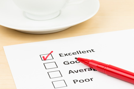 customer satisfaction: Customer satisfaction survey checkbox with excellent tick