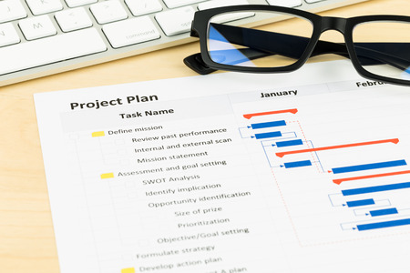 gantt: Project management and gantt chart with keyboard and glasses