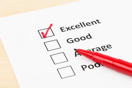 刻みの優れた顧客満足度調査チェック ボックス