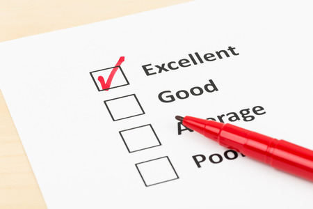 Customer satisfaction survey checkbox with excellent tick