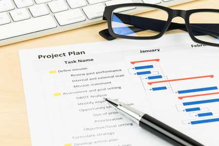 gantt: Project management and gantt chart with keyboard, glasses, and pen