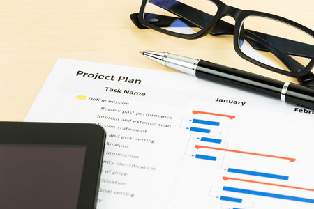gantt: Project management and gantt chart with tablet, glasses, and pen