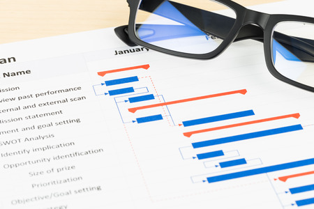 gantt: Project management and gantt chart with glasses Stock Photo