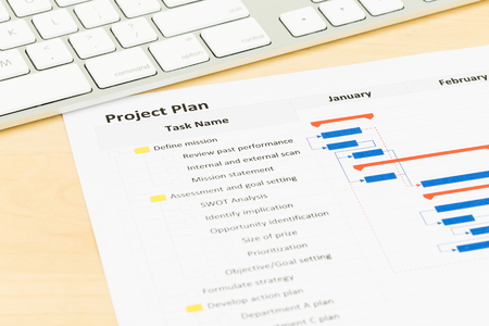 detail internet computer: Project management and gantt chart with keyboard Stock Photo