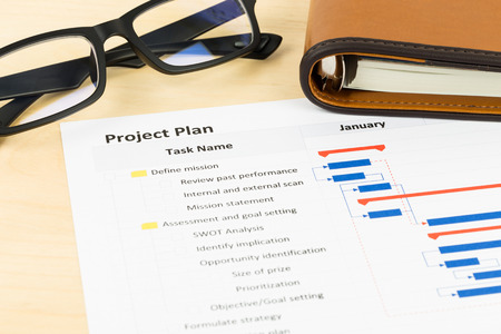 gantt: Project management and gantt chart with glasses and organizer