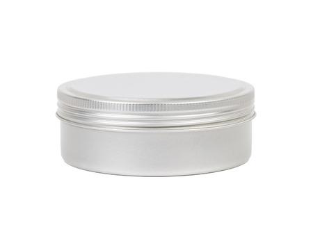 aluminum: Aluminum cosmetic jar on white background
