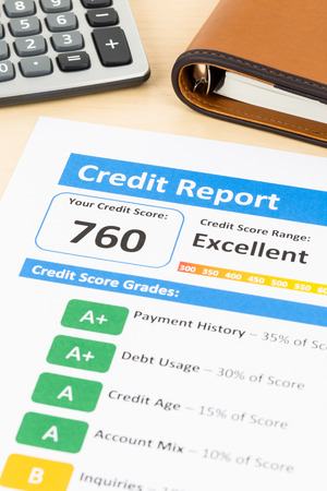 creditworthiness: Credit score report with calculator and organizer book