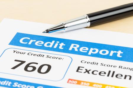Credit score report with pen 写真素材