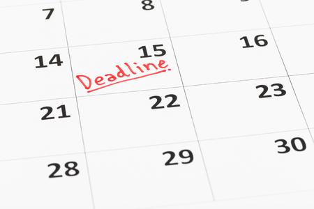 deadline: Calendar and deadline writen Stock Photo