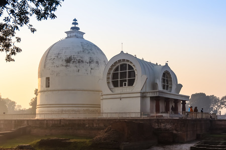 vihar: Parinirvana Stupa and temple in morning, Kushinagar, India