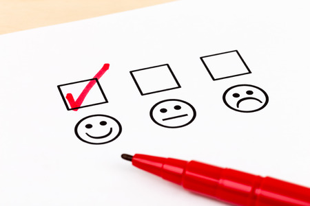 the tick: Customer satisfaction survey checkbox with excellent symbol tick