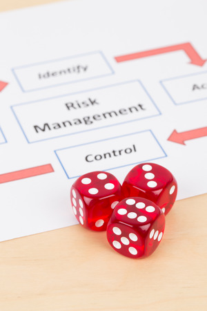 assess: Dice and risk management process diagram chart Stock Photo